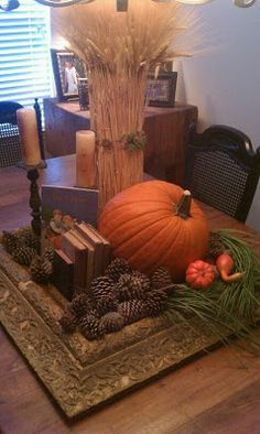 The Farmhouse Porch: A farmhouse fall tablescape - creative use of a vintage picture frame.  #thanksgiving