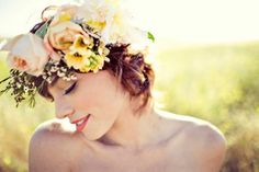 Pixie cut or casual updo with spring wreath