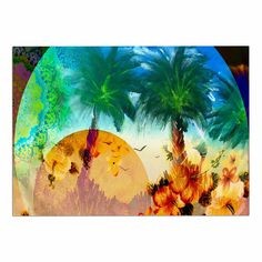 KESS InHouse Infinite Spray Art 'Paradise Patterns' Green Yellow Dog Place Mat, 13' x 18' >>> Quickly view this special dog product, click the image : Dog food container