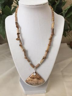 Natural Picture Jasper in Neutral Shades With Sterling Silver Accents; Earrings Included by GlowDaily on Etsy Sterling Silver Flowers, Leather Necklace, Stone Jewelry, Artisan Jewelry, Jasper, Neutral, Amethyst, Jewelry Making, Pendants