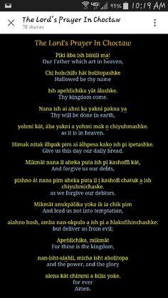 Lords prayer in Choctaw language