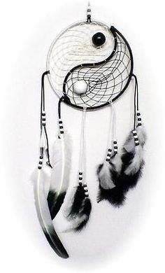 Yin & Yang dream catcher ... I am now determined to learn how to make this! www.aspenyogamats.com