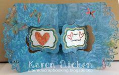 Karen Aicken using the Pop it Ups Katie Label Pivot Card and Paris Edges die sets by Karen Burniston for Elizabeth Craft Designs. - Altered Scrapbooking: Pivot Anniversary Card