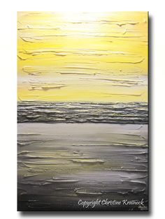 ORIGINAL Art Abstract Painting Yellow Grey Modern Textured Coastal Wall Decor Contemporary Urban Horizon Gold White Horizon 36x24 Christine