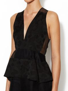 Chiffon V-Neck Peplum Dress from Pretty, Please on Gilt
