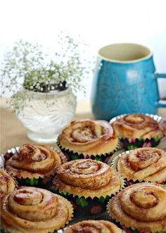 "Breakfast wanderlust : Although these heartwarming treats are a daily indulgence in most Swedish homes, there is one special day each year that the pastry is highlighted just a bit more than other days: October is ""Kanebullens Dag"" (Cinnamon Roll Day)! Swedish Recipes, Sweet Recipes, Brunch, Cupcakes, European Dishes, Beignets, Sweet Bread, Cinnamon Rolls, Just Desserts"