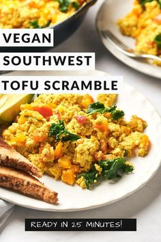 Start your day with this #vegan #tofu scramble recipe. You can enjoy a tasty and easy #plantbased breakfast with lots of umami flavor in 15 minutes! Get some sliced avocado to put on top of an already delicious dish for some extra goodness. With green chiles and veggies mixed in, it's not hard to see why this will be your new go-to vegan option at breakfast time. #veganrecipes #veganbreakfastrecipes Vegan Appetizers, Vegan Snacks, Tofu Recipes, Vegetarian Recipes, Scrambled Tofu Recipe, Southwest Salad, Tofu Scramble, Extra Firm Tofu, Vegan Pasta