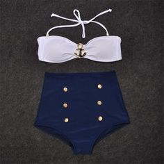 From back in the day! Vintage Retro Pin Up High Waisted Bikini Top Anchor+Bottom Swimsuit Blue White M
