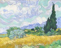 Wheatfield with cypress tree, 1889 - Vincent van Gogh Van Gogh Pinturas, Van Gogh Art, Art Van, Van Gogh Landscapes, Landscape Paintings, Vincent Van Gogh, Arte Elemental, 7 Arts, Iris Art