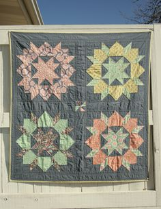 Birds and Berries Swoon Quilt Use color palette with grey but sash in Fassette prints. Solid -ish petals and Fassette centers. Center. Use new pattern.
