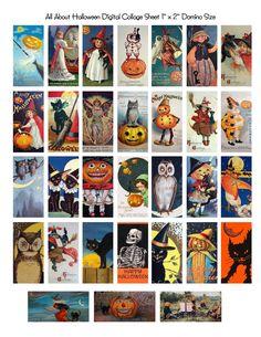 One Blank Dream: Free Vintage Halloween Domino Digital Collage Sheet - Free - Halloween Halloween Prints, Halloween Art, Holidays Halloween, Vintage Halloween, Halloween Decorations, Halloween Printable, Domino Crafts, Domino Art, Domino Jewelry