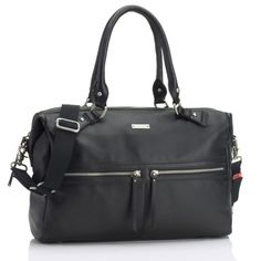 Storkask Black Leather Caroline Bag: travel Bag and Diaper Bag.Spacious enough to use every day or as a weekend bag when off-duty, it features six internal storage compartments, one magnetic and two zipped outer pockets, vanity case and additional shoulder strap with built in stroller straps.