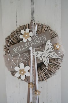 Door wreaths – door wreath wall wreath 38 cm Welcome butterfly – a unique product by ems-floristik on DaWanda Diy Spring Wreath, Diy Wreath, Door Wreaths, Grapevine Wreath, Christmas Door Decorations, Valentines Day Decorations, Christmas Diy, Curtains With Rings, Curtain Rings Crafts