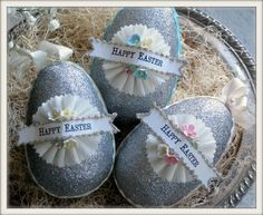 vintage inspired HAPPY EASTER glittered egg ornaments