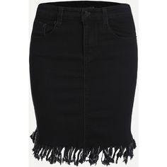 Black Fray Hem Pockets Denim Skirt ($19) ❤ liked on Polyvore featuring skirts, denim skirt, pocket skirt and knee length denim skirt