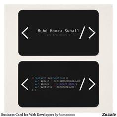 business card for web developers // zazzle Minimal Business Card, Free Business Cards, Business Card Design, Web Development Tutorial, Web Development Projects, Web Developer Portfolio Website, Javascript Code, Visiting Card Design, Bussiness Card