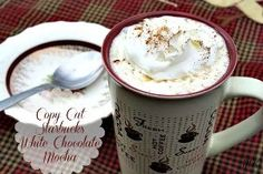 Copy Cat Starbucks White Chocolate Mocha  Ingredients:  2/3 - cup whole milk 1/2 cup white chocolate baking chips 1/2 cup freshly brewed strong coffee Whipped cream cinnamon. garnish white chocolate shavings, garnish