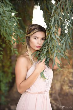 Senior Pictures - use a eucalyptus tree to frame face.