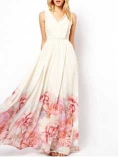Shop for White Xl Back V Floral Printed Maxi Dress online at $24.16 and discover fashion at RoseGal.com Mobile