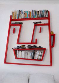 Wonderful Unsusual Bookshelf Face Design Red Color Wall Mounted Bookcase Creative Furniture Ideas Living Room Design 24 Creative And Unusual Bookshelves Furniture Creative Bookshelves, Bookshelf Design, Bookshelf Ideas, Shelving Ideas, Shelving Design, Bookshelf Wall, Wall Shelving, Bookcase Storage, Book Storage