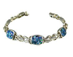 Fiery Opal Doublet Bracelet Sterling Silver Mosaic Tile – Premier Estate Gallery