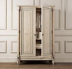 Antique cream armoire