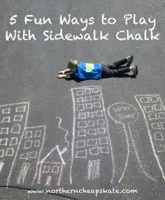 Sidewalk chalk can provide hours of fun and frugal entertainment for the family. Just check out these five sidewalk chalk activities!