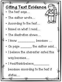 Citing-Text-Evidence-Poster-Freebie-1195753 Teaching Resources - TeachersPayTeachers.com