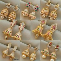 Gold Jhumka Earring designs latest 2019/ Gold buttalu | Sparkling Fashion Gold Jhumka Earrings, Gold Bridal Earrings, Jewelry Design Earrings, Gold Earrings Designs, Gold Jewellery Design, Designer Earrings, Latest Earrings Design, Diamond Jhumkas, Jhumka Designs