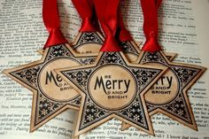 Merry and Bright Christmas Star Gift Tags-SET of 6-Vintage Style-Ribbon Choice. $7.90, via Etsy.