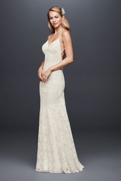 This form-fitting and figure flattering eyelash-lace sheath dress swoops low at the back.  Galina, exclusively at David's Bridal  Polyester  No train  Back zipper; fully lined  Dry clean  Imported  Also available in extra length  Style available with train
