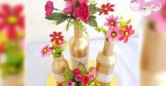 centro de mesa con botellas