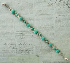 Linda's Crafty Inspirations: Bracelet of the Day: Cindy Bracelet - Silver & Turquoise