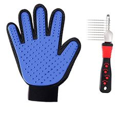 Pet Grooming Glove Brush Deshedding Glove Pet Massage Tool with Dematting Comb for Dogs Cats Horses Rabbits Right Hand *** Click on the image for additional details.