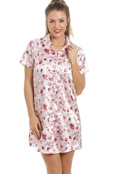 f38928ae15 Camille Pink And Red Floral Print Knee Length Ivory Satin Nightshirt  Airmail