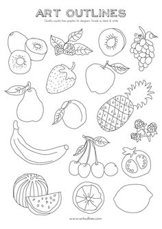 Set of Fruits - Art Outlines Full Page 16 Original Hand Drawn Outline Illustrations