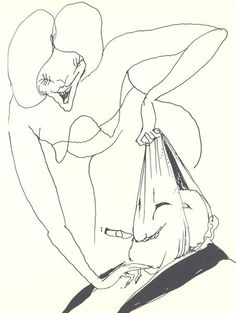 Tomi Ungerer – The Party Illustrations, Illustration Art, Baroque Sculpture, Minimal Drawings, Contour Drawing, Black White Art, Creepy Art, Humor Grafico, Pastel Drawing