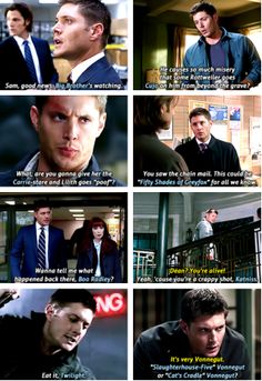 [GIFSET] okay, let me just say something. Dean makes all these pop culture references which means, that he reads books, he watches movies, and barrows Sam'a laptop to go on the internet. He has a life outside of hunting that we don't get to see!