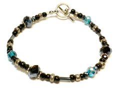 Beautiful Single strand Black and Turquoise by B4Jjewelrydesigns