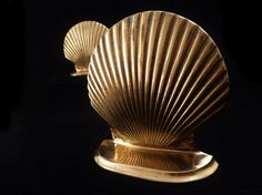Vintage Mid Century Brass Seashell Bookends  by modalabode on Etsy
