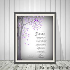 Baptism Gift For Godmother Personalized Gift For by BeautifulPrint