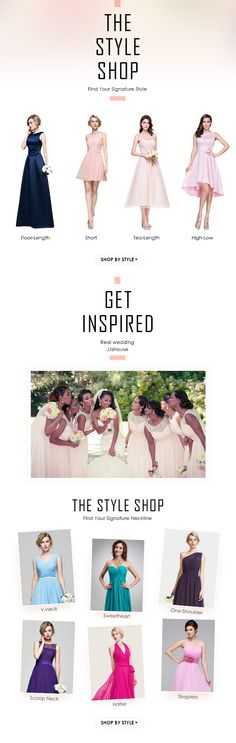 Get Inspired by our Bridesmaid Collection, perfect dress for every Bridesmaid, all necklines, lengths, styles, & colors! #bridesmaid