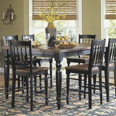 Hayden Black/ Cherry Pub Dining Table With Leaf