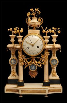 """ANTIQUE FRENCH GOLD PLATED BRONZE & MARBLE LOUIS XVI MANTEL CLOCK - PALACE OF VERSAILLES, 1770s !!  A Magnificent French, 18th Century, Louis XVI, Gold Plated Bronze and Marble Mantel Clock by One of World's Premier Clockmakers """"Folin Laine"""" circa 1770s !!"""