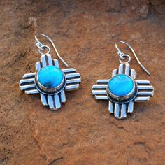 New Mexico Zia Symbol Turquoise Contemporary Earrings by Santa Fe Silverworks by Gregory Segura