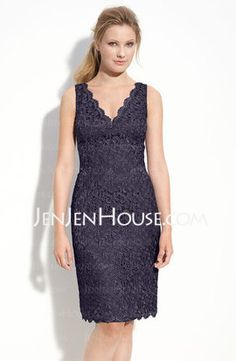 Sheath V-neck Knee-Length Charmeuse  Lace Mother of the Bride Dresses With Lace (008005700).  Need different color, maybe coral.
