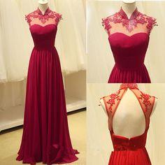 High Quality Handmade A-line Burgundy Chiffon Floor Length Backless Prom Gown 2015, Long Prom Dresses 2015, Prom Dresses, Formal Dresses