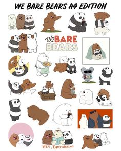 Tumblr Stickers, Phone Stickers, Kawaii Stickers, Cute Stickers, Wallpaper Stickers, Bear Wallpaper, We Bare Bears Wallpapers, Homemade Stickers, Cute Girl Drawing