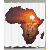Safari Decor African Art Wildlife Shower Curtain Continent Lion Sunset Digital Print High Resolution Picture Photography Brown and White Shower Curtains