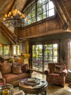 Family Room Log House Design, Pictures, Remodel, Decor and Ideas